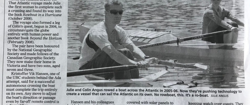 Front Page Times Colonist Article on our Autonomous Boats