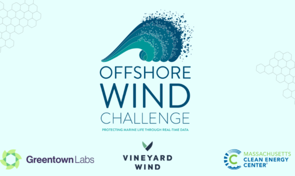 Offshore Wind Challenge Logo with Partners GreentownLabs Vineyard Wind and Massachusetts Clean Energy Center