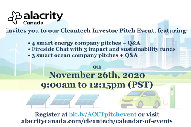 Alacrity Cleantech Investor Pitch Event Banner