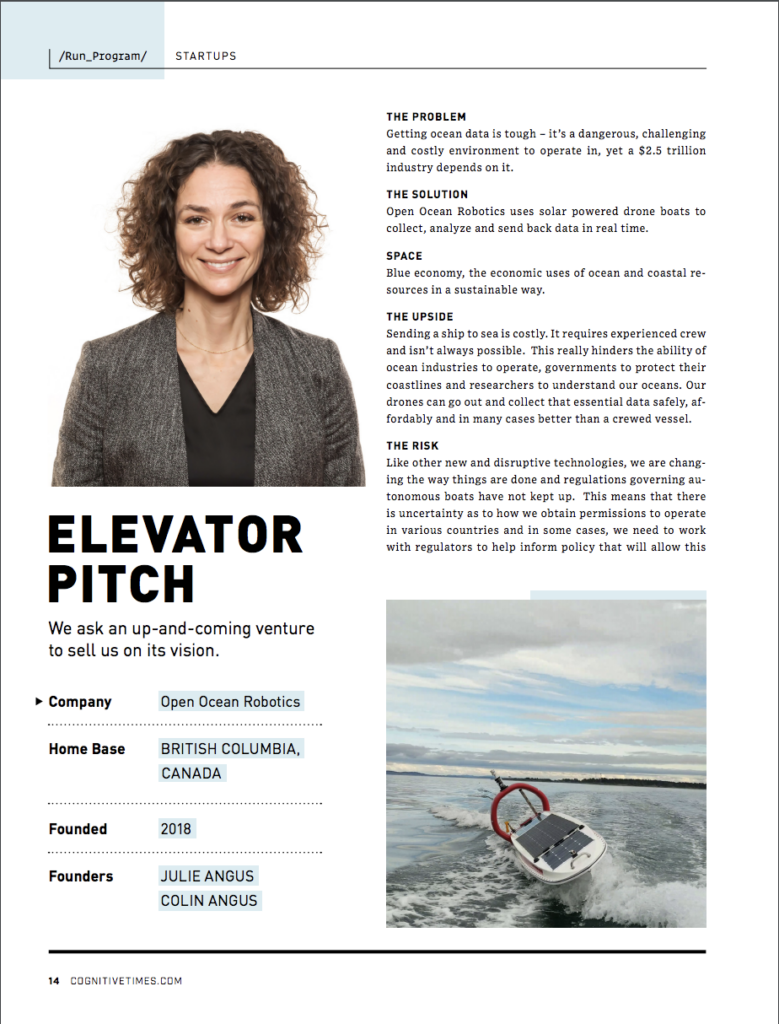 Screenshot of Julie's elevator pitch page 1 of 2